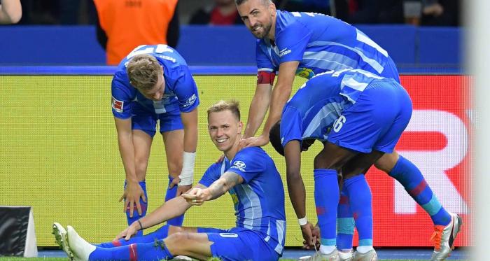 Hertha celebrating their second goal. | Photo: Hertha BSC.
