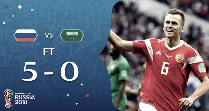 il pokerissimo della russia contro l'arabia saudita (fonte foto twitter fifa world cup)