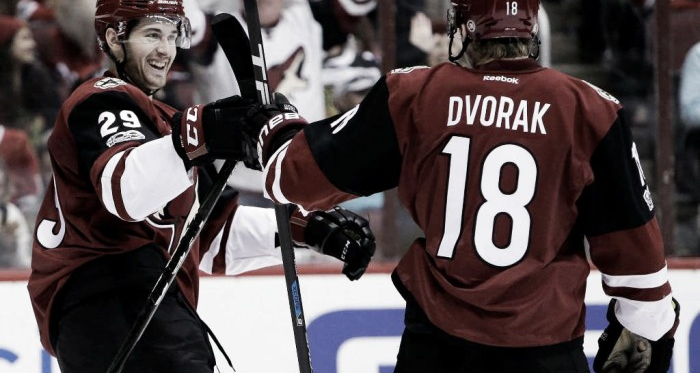 The Coyotes' young prospects Perlini and Dvorak each had two points in the loss. Source: The Edwardsville Intelligencer