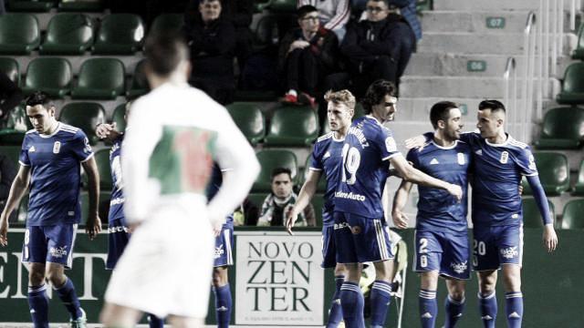 Los jugadores carbayones celebran uno de los goles | Imagen: Real Oviedo