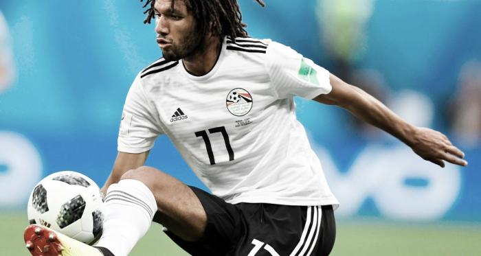 Elneny controla un balón en un partido con Egipto | Fotografía: Arsenal