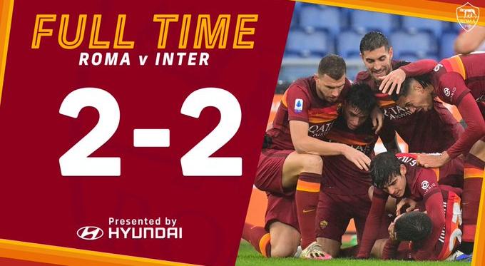 """Mancini """"salva"""" la Roma: contro l'Inter finisce 2-2"""