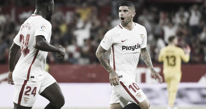Ever Banega celebrando el único tanto del partido | Foto: Sevilla FC