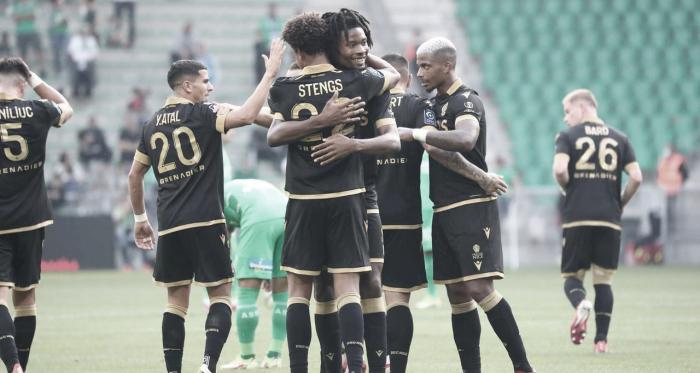 Nice se recupera na Ligue 1 com vitória arrasadora e aumenta crise no Saint-Étienne