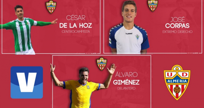 Las tres nuevas incorporaciones de la UD Almería. Fotos: UD Almería