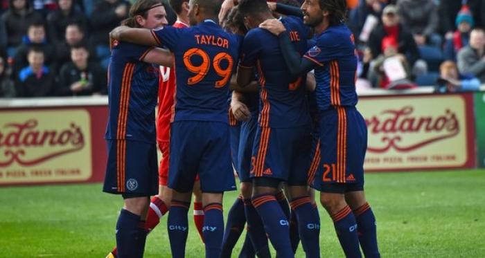 New York City FC celebrates first match victory   Photo: Courtesy of NYCFC