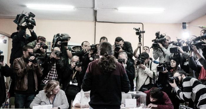 Iglesias durante el pasado 28-A. Fuente: Cuenta Oficial de Facebook de Podemos (@ahorapodemos).