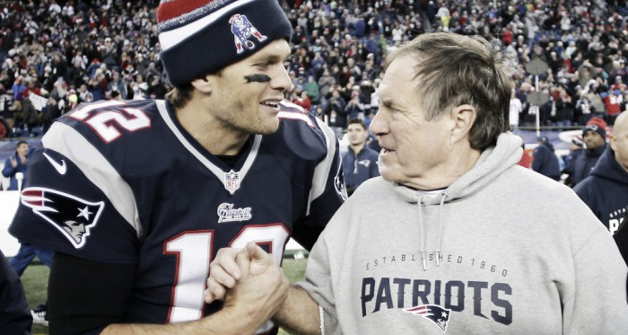 With the growing tension between Tom Brady and Bill Belichick, we may never see them this happy (I know they don't look it, but that's relative to how they normally are) again. How sad. Photo Credit: Winslow Townson/USA TODAY Sports.