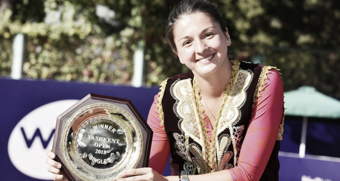 Margarita Gasparyan was in high spirits after the match | Photo: Tashkent Open