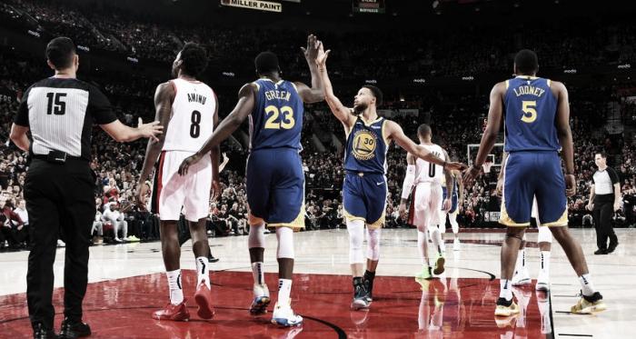 Demoledores. Curry y Green fueron las grandes figuras de la noche. Foto: NBA.