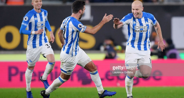 Aaron Mooy celebrates in Huddersfield Town's 2-0 win against Wolverhampton Wanderers. (picture: Getty Images / Laurence Griffiths)