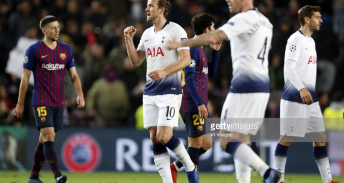 The Spurs players celebrate at the full-time whistle after advancing to the last 16 of the Uefa Champions League (Photo Source: VI - Images / Getty Images)