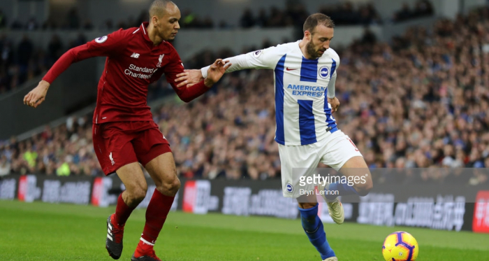 Fabinho was drafted into defence against Brighton | Photo via Getty Images