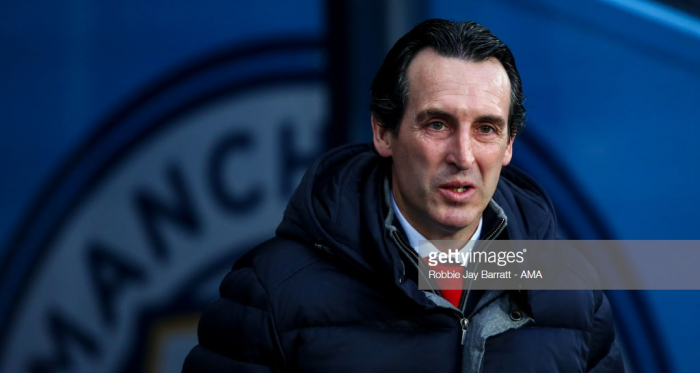 MANCHESTER, ENGLAND - FEBRUARY 03: Unai Emery the head coach / manager of Arsenal during the Premier League match between Manchester City and Arsenal FC at Etihad Stadium on February 3, 2019 in Manchester, United Kingdom. (Photo by Robbie Jay Barratt - AMA/Getty Images)