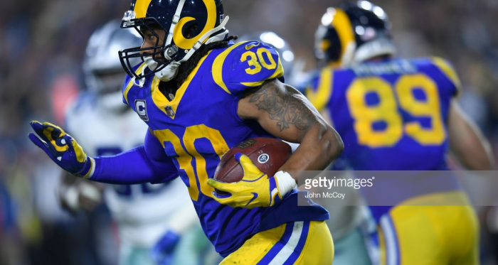 Todd Gurley will be hoping to bounce back against the Patriots(Photo by John McCoy/Getty Images)
