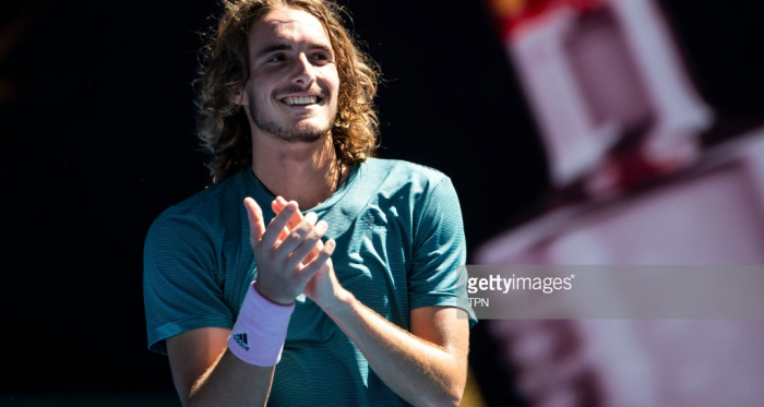 Tsitsipas is all smiles as he is into the semifinals/Photo: TPN via Getty Images