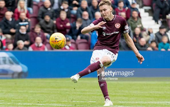 Teenage midfielder Harry Cochrane in action for Hearts. Source:GettyImages/Alan Rennie