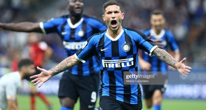 Inter new boys Romelu Lukaku and Stefano Sensi celebrate after scoring a goal (Getty Images/Marco Canoniero)