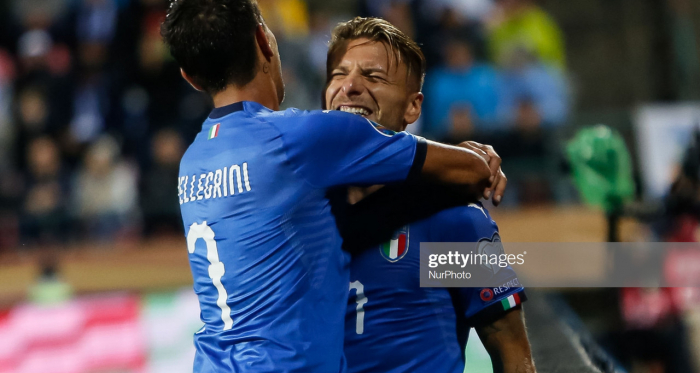 Ciro Immobile celebrates his goal with Italy teammate Lorenzo Pellegrini in Italy's last match against Finland (Getty Images/NurPhoto)