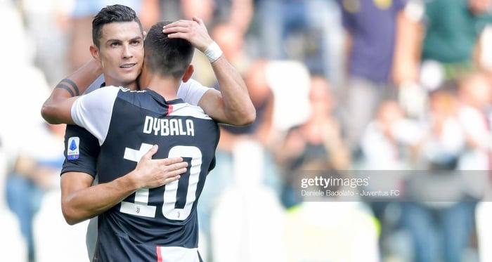 Juventus' Cristiano Ronaldo celebrates his weekend goal against S.P.A.L with teammate Paulo Dybala (Getty Images/Daniele Badolato)