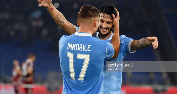 Lazio's Ciro Immobile celebrates his first goal against Torino with teammate Luis Alberto (Getty Images/Marco Rosi)