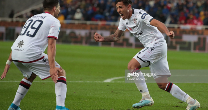 Cagliari's Christian Oliva celebrates his goal against Atalanta last weekend with teammate Giovanni Simeone (Getty Images/Emilio Andreoli)