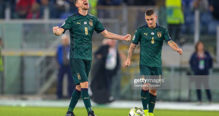Jorginho celebrates Italy's win and qualification for Euro 2020 after their latest victory over Greece (Getty Images/Giampiero Sposito)