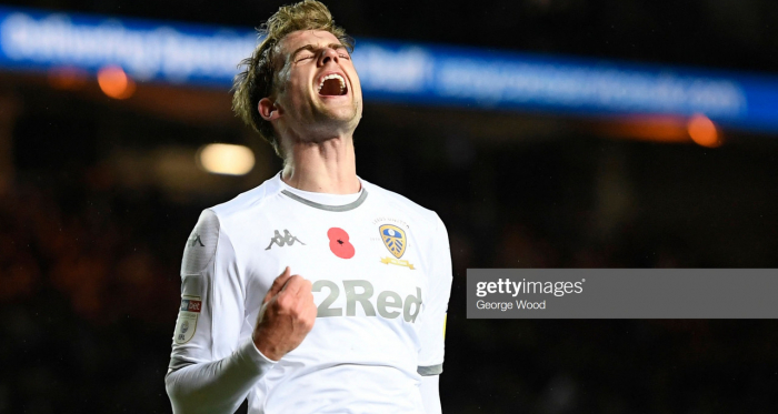 LEEDS, ENGLAND - NOVEMBER 09: Patrick Bamford of Leeds United reacts during the Sky Bet Championship match between Leeds United and Blackburn Rovers at Elland Road on November 09, 2019 in Leeds, England. (Photo by George Wood/Getty Images)