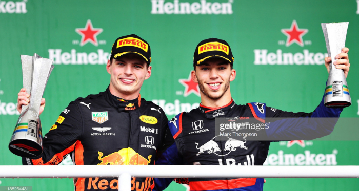 Verstappen (left) and Gasly (right) (Photo credit: Mark Thompson, Getty Images)