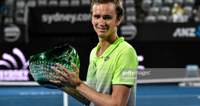 .Daniil Medvedev poses with the winners trophy at the 2018 Sydney International/Photo: Nigel Owen/Getty Images