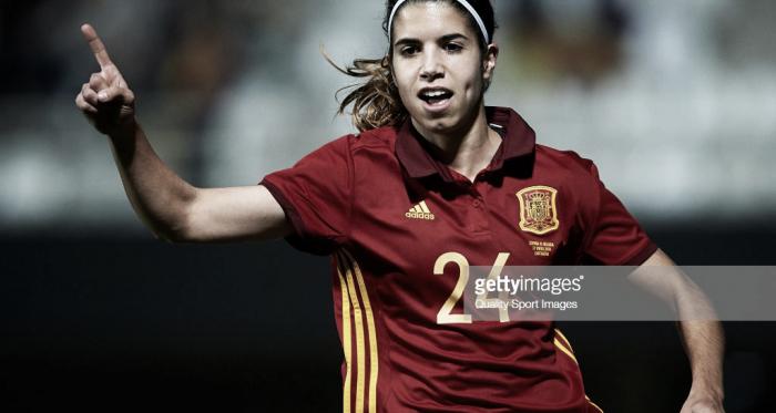 La internacional Alba Redondo celebra el gol que abría el marcador (gettyimages)