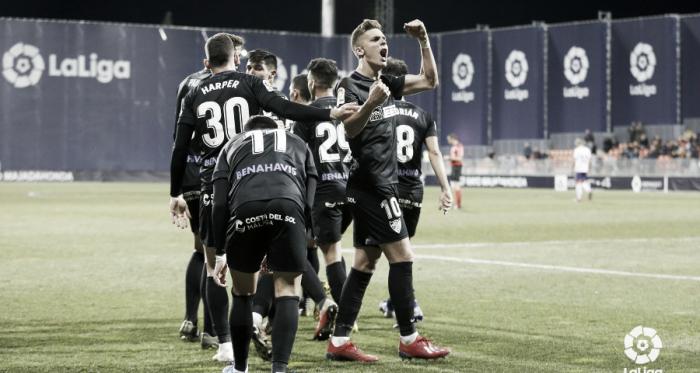 Los jugadores del Málaga CF celebrando el gol ante el Rayo Majadahonda | Foto: LaLiga