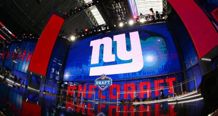 New York Giants logo on the video screen during the second round of the 2018 NFL Draft on April 27, 2018, at AT&T Stadium in Arlington, TX. (Photo by Rich Graessle/Icon Sportswire via Getty Images)