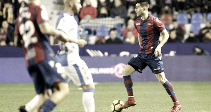 Postigo con el balón en el encuentro de la primera vuelta frente al Leganés/ Foto. Levanteud.com