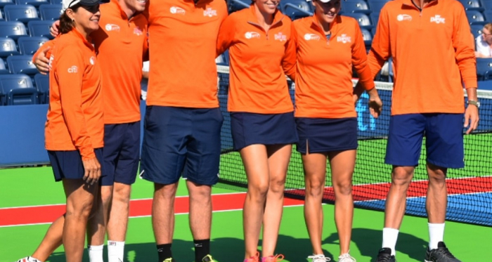 The New York Empire team lines up before the opening match of the season. From left to right: Coach Gigi Fernandez, Neal Skupski, Dennis Novikov, Maria Jose Martinez Sanchez, Tatjana Maria and Steve Johnson/Photo: John Lupo/VAVEL UK