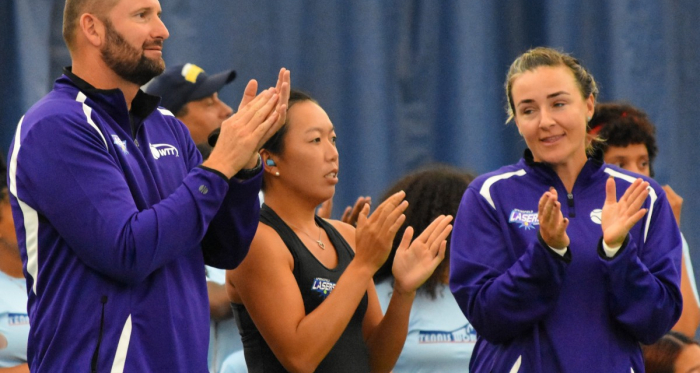 Springfield coach John-Laffnie de Jager (l.), Vania King (c.) and Abigail Spears applaud during the Lasers' victory/Photo: John Lupo/VAVEL UK