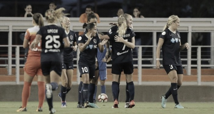 The NC Courage celebrate their 12th shutout of the season | Source: Christian Inoferio - isiphotos