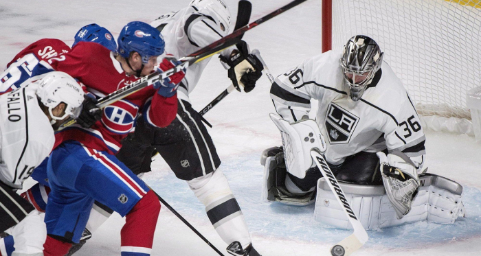Jack Campbell makes one of his 40 saves against the Canadiens, earning his first career shutout. Photo Credit: latimes.com