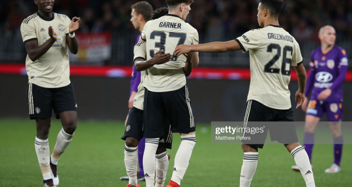 James Garner of Manchester United celebrates scoring their second goal during the match between the Perth Glory and Manchester United on July 13, 2019. (Photo by Matthew Peters/Manchester United via Getty Images)