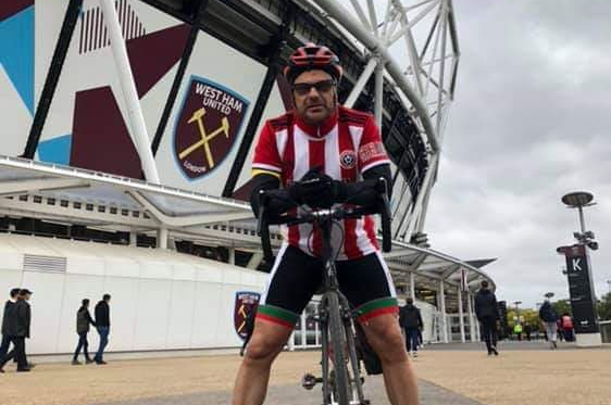 James Kemp at West Ham after a three day ride to get to the London Stadium (Credit: James Kemp)
