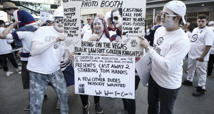 Winnipeg Jets' fans gather outside of Bell MTS Place to cheer on and goad the Vegas Golden Knights. (Photo: Richard Brian/Las Vegas Review Journal)