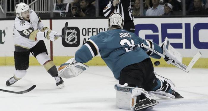 San Jose Sharks' goalie Martin Jones stops a shot by Jonathan MarchessaultGolden Knights in Game 4 action. | AP Photo/Jeff Chiu