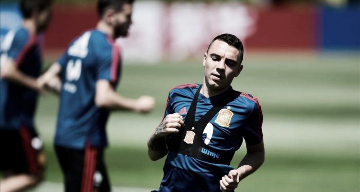 Iago Aspas en un entrenamiento con la Selección Española. Foto: AFP