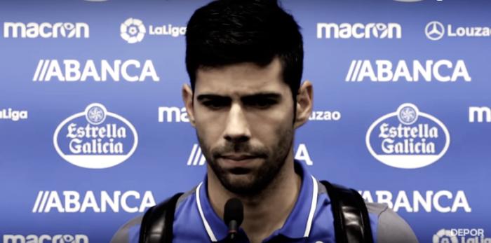 Juanfran en zona mixta // Imagen: RC Deportivo