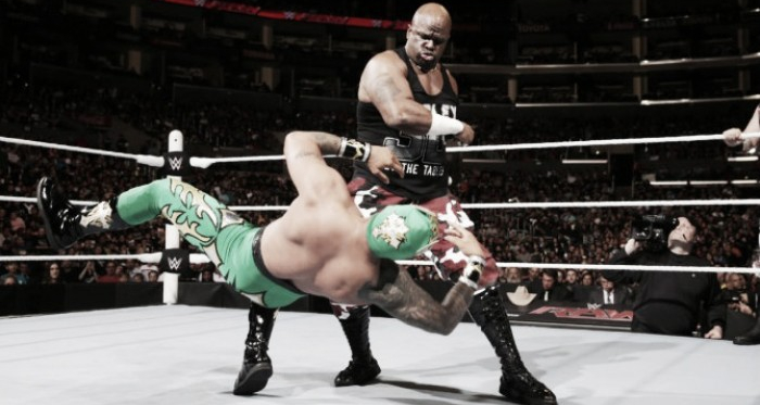 Kalisto appeared to be hurt on Raw. Photo- WWE.com