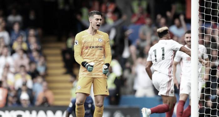 Kepa desesperado tras el gol en contra./ Foto: Premier League.