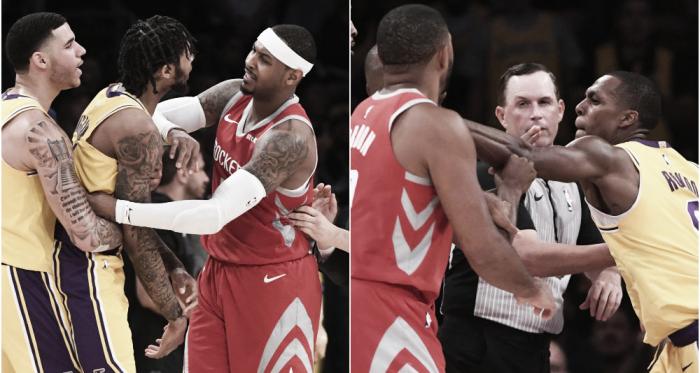 Momento en el que Ingram empieza la pelea y en el que Rondo escupe a Paul. Foto:Reuters