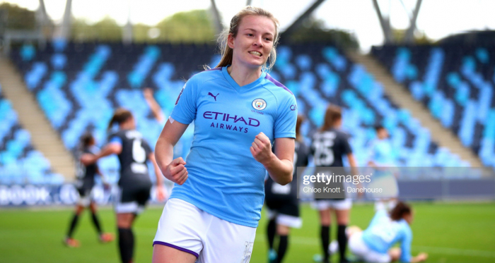 MANCHESTER, ENGLAND - OCTOBER 12: Lauren Hemp of Manchester City celebrates her teams third goal during the Barclays FA Women's Super League match between Manchester City and Birmingham City at The Academy Stadium on October 12, 2019 in Manchester, United Kingdom. (Photo by Chloe Knott - Danehouse/Getty Images)