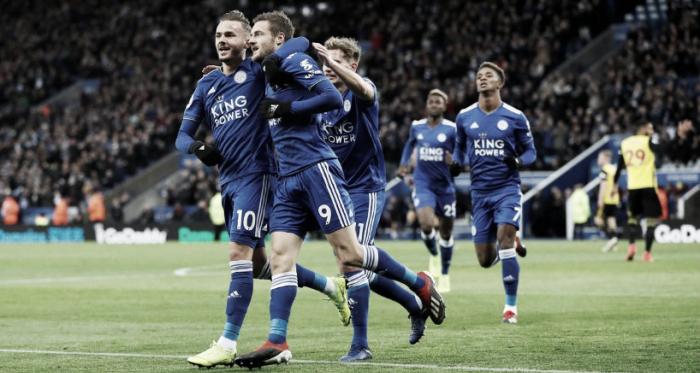 Festejo tras la anotación de Vardy desde los doce pasos. / Foto: Leicester City.
