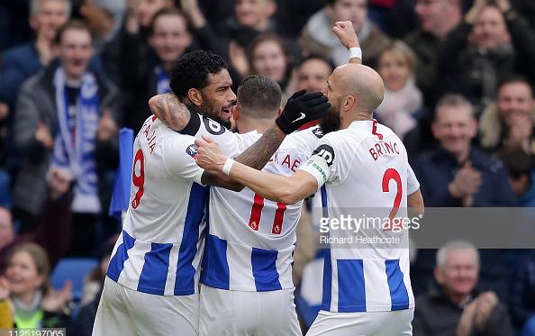 Jurgen Locadia, Anthony Knockaert and Bruno celebrate Locadia's goal in the previous round of the FA Cup. Image courtesy of Richard Heathcote on Getty Images.